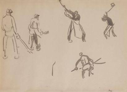 Jules-Emile ZINGG (1882-1942)  Etude de golfeurs...