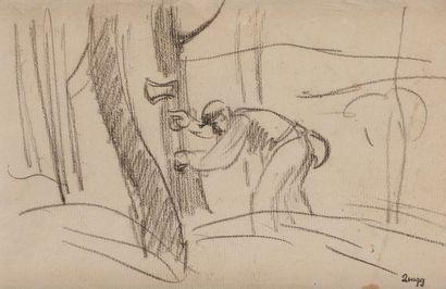 Jules-Emile ZINGG (1882-1942)  Bûcheron  Fusain....