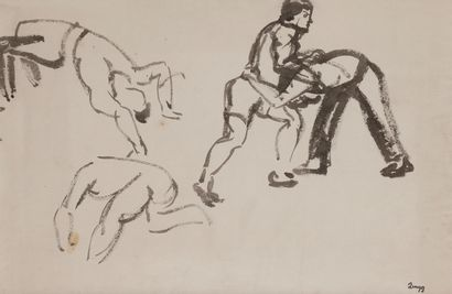 Jules-Emile ZINGG (1882-1942)  Lutteurs  Encre....