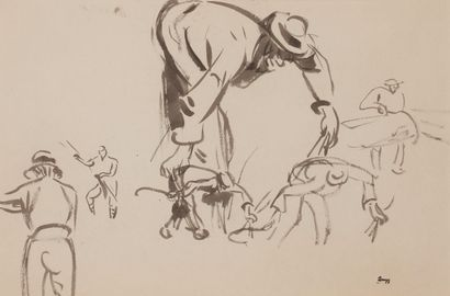 Jules-Emile ZINGG (1882-1942)  Etude de moissonneurs...