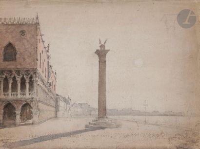 Amédée ROSIER (1831-1898) Piazzetta à Venise...