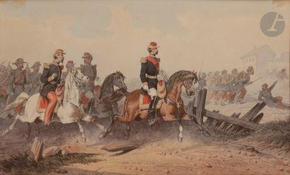 Theodore FORT (1810-1896) Scène de Bataille...