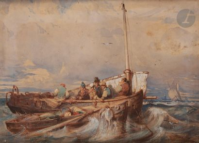 École FRANÇAISE du XIXe siècle Les pêcheurs...