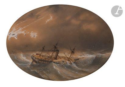 Louis LEBRETON (1818-1866) Marine Plume,...