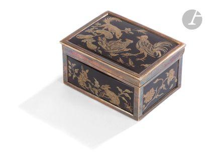 Boîte à cage en écaille piqué or et argent...