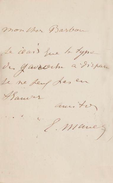 Édouard MANET (1832-1883). L.A.S., à son...