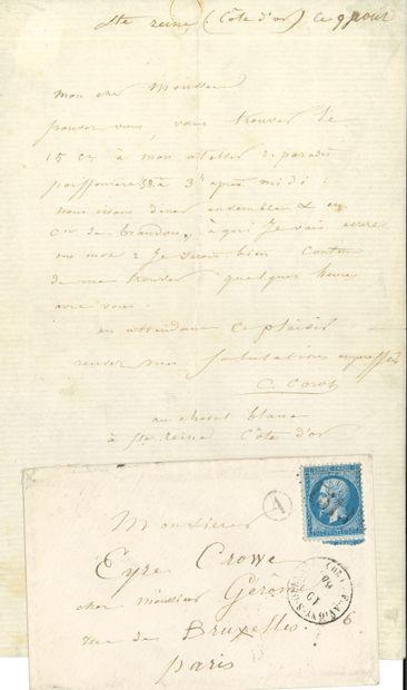 Camille COROT (1796-1875). L.A.S., Sainte-Reine...