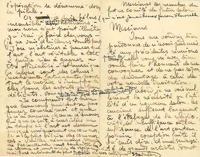 Théophile-Alexandre STEINLEN. 2 L.A.S. (brouillons),...