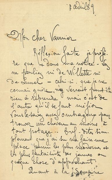Théophile Alexandre STEINLEN. L.A.S., 1er...