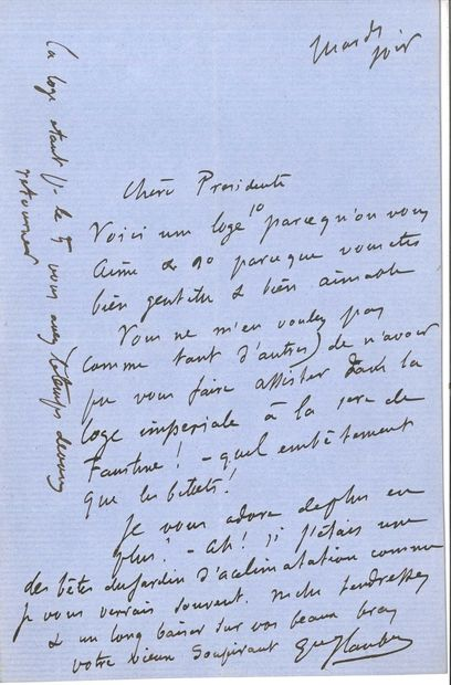 Gustave FLAUBERT (1821-1880). L.A.S., [Paris] Mardi soir [23 février 1864], à Aglaé...