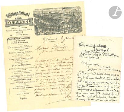 Théophile Alexandre STEINLEN. L.A.S. (brouillon...