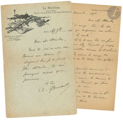 Aristide BRUANT (1851-1925). 3 L.A.S., 1894-1897,...