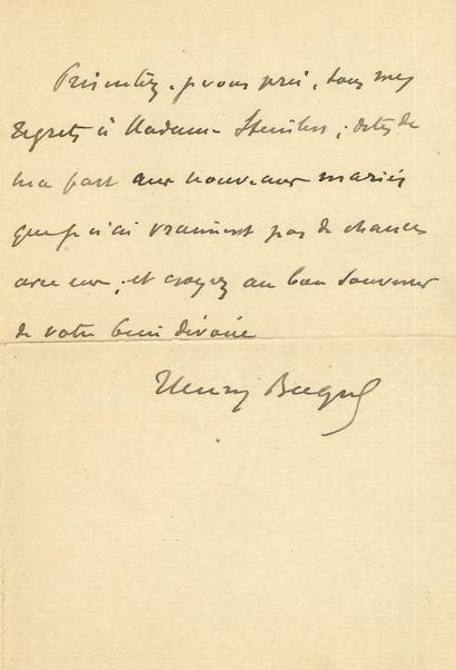 Henry BECQUE (1837-1899). L.A.S., à Steinlen;...