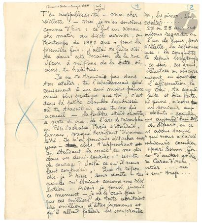 Théophile-Alexandre STEINLEN. Manuscrit autographe,...