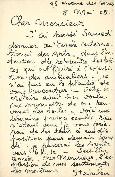 Théophile Alexandre STEINLEN. 2 L.A.S., 8...