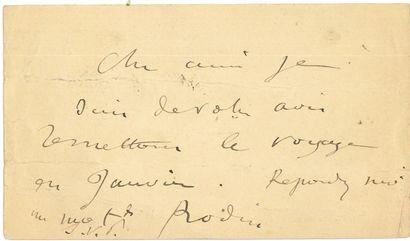 Auguste RODIN. L.A.S., [19 décembre 1888],...