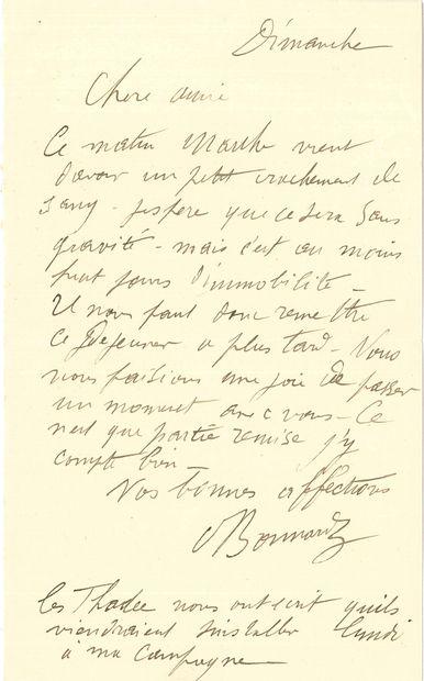 Pierre BONNARD (1867-1947). L.A.S., Dimanche,...