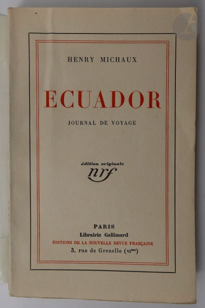 MICHAUX (Henri). Ecuador. Journal de voyage....