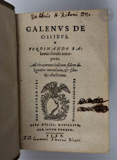 GALIEN (Claude). De Ossibus. Ferdinando Balamio Siculo interprete. Lyon : Guillaume...