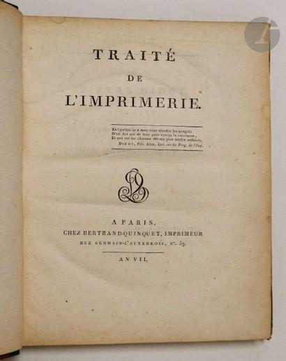 BERTRAND-QUINQUET (Louis-Jacques-François de Paule). Traité de l'imprimerie. Paris...