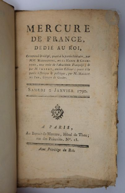 MERCURE DE FRANCE. Paris : Au bureau du Mercure, 1790. — 9 numéros en 9 volumes...