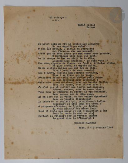 BRASILLACH (Robert). Quatre poèmes. Tapuscrit...