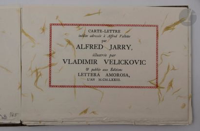 JARRY (Alfred) - VELIČKOVIĆ (Vladimir). Carte-lettre...
