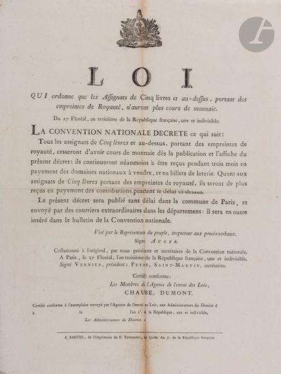 ASSIGNATS ET MONNAIES. 9 affiches, 1791-1803,...