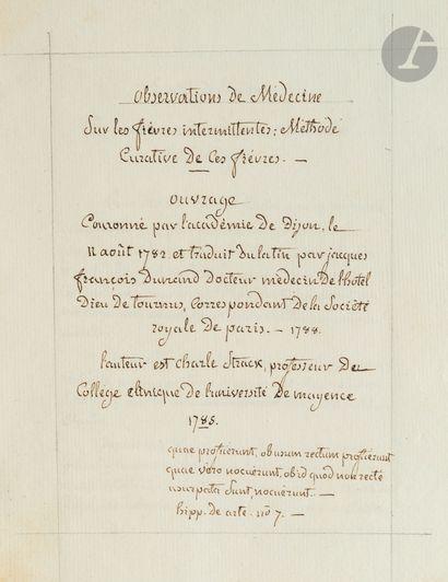 médecine. Jacques-François DUNAND (1748-1823)...