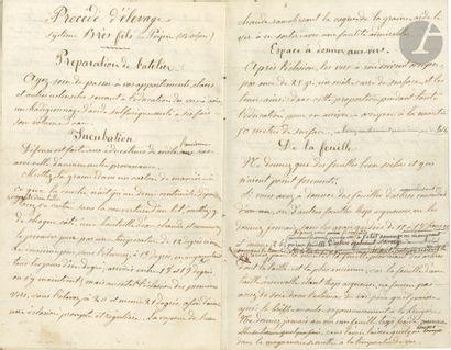 SÉRICICULTURE. Manuscrit autographe de Fortuné...