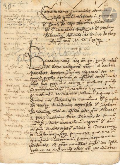 BARCELONE. 3 manuscrits émanant de chapitres...