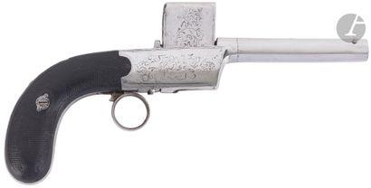 Pistolet à percussion système attribué à « Colleye » à barillet plat ascendant,...