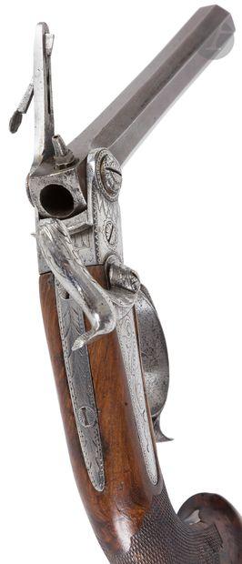 Pistolet à percussion « Casimir Lefaucheux », un coup.  Canon à pans légèrement...