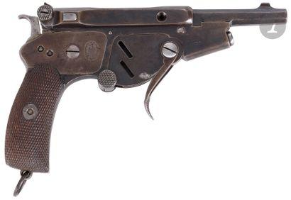 Rare pistolet semi-automatique « Bergmann N° 2 », six coups, calibre 5 mm à percussion...