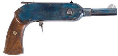Pistolet à système « Gay-Guenot » à magasin rotatif à chainette, 40 coups, à balle...