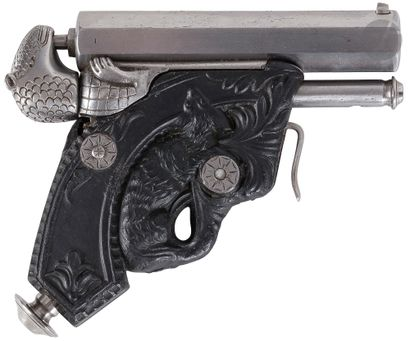 """Rare and curious pocket pistol with percussion system """"Delvigne"""", one shot, calibre..."""