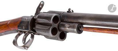 Carabine revolver à percussion, cinq coup,...