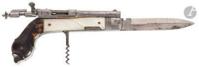 Rare pistolet couteau de poche, à système,...