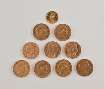 Lot de 9 pièces de 20 Francs or: - 6 pièces de 20 Francs en or. Type Napoléon III....