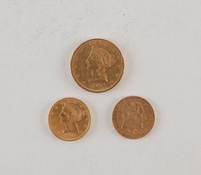 Lot de 3 pièces en or : - 1 pièce de 10 Dollars...