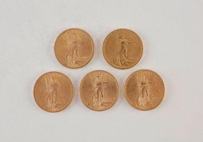 5 pièces de 20 Dollars en or. Type Saint...
