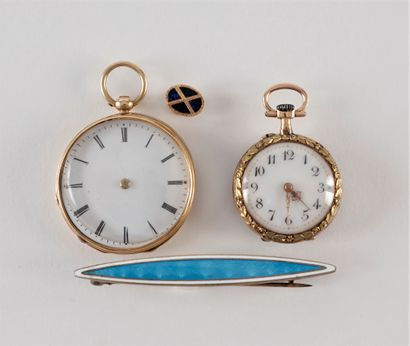 Lot de deux montres de col en or (18K) avec...