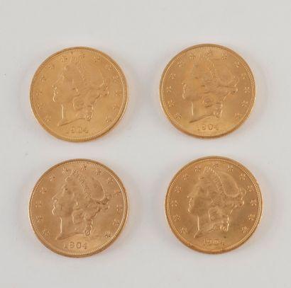 4 pièces de 20 Dollars en or. Type Liberty....