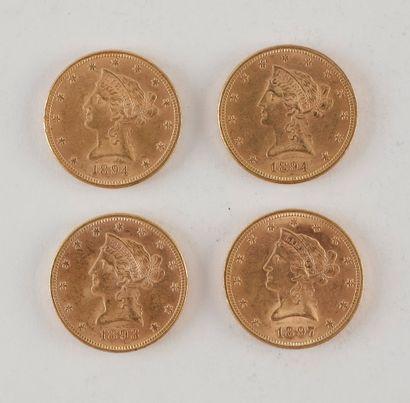 4 pièces de 10 Dollars en or. Type Liberty....
