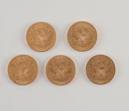 5 pièces de 10 Dollars en or. Type Liberty. 1879 S - 1881 (2) - 1881 S - 1888