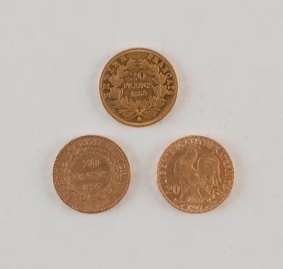 3 pièces de 20 Francs en or. - Type Napoléon III tête nue. 1858 A - Type Génie....
