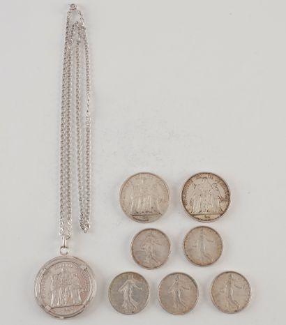 Lot de 3 pièces de 10 Francs en argent. Type...