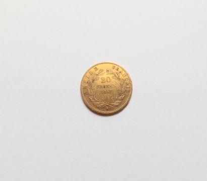 1 pièce de 20 Francs en or. Type Napoléon III. 1857 A.