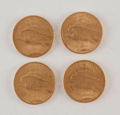 4 pièces de 20 Dollars en or. Type Saint Gaudens.1908 - 1910 S - 1914 S - 1920.
