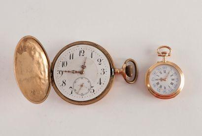 2 montres de poche en or. - montre échappement...